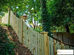 Picket Fence On Hill Google Search Wood Picket Fence Building A Fence Front Yard Fence