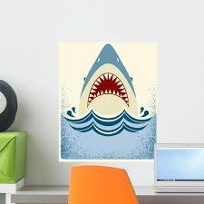 Shark Jaws Vector Color Illustration Wall Decal Wallmonkeys Com