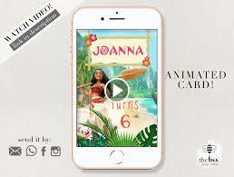 Moana Cumpleanos Animacion Video Invitacion Invitacion Etsy