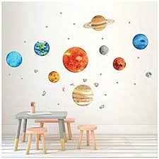 Amazon Com Finduat Space Planet Wall Stickers Decals Removable Solar System Watercolor Space Vinyl Wall Stickers For Kids Nursery Bedroom Living Room Baby