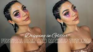 festival rave hair and makeup tutorial
