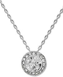 swarovski necklace silver tone crystal