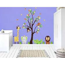 Nursery Wall Decals Safari Animal Decals Baby Room Stickers Kids Wallpaper For Playroom Made From Wall Fabric Better Than Vinyl Decals