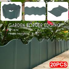 20pcs Garden Lawn Edger Grass Plant Fence Edging Retaining Plate 150mm Green Shopee Philippines