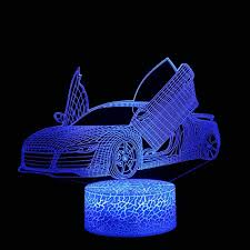 Amazon Com Gbell Boys Race Car Desk Led Night Light With 7 Color Changing Usb Power Touch Control 3d Illuminated Racing Car Lamp Optical Illusion Night Light For Kids Boys Girls