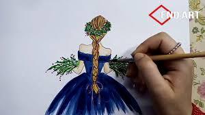 رسم فتاه بضفيرة تحمل باقة ورد بالالوان المائيه للمبتدئين تعليم