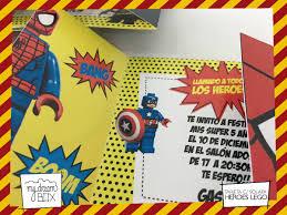 Tarjetas Invitacion Solapa Evento Cumple Super Heroes Lego 371