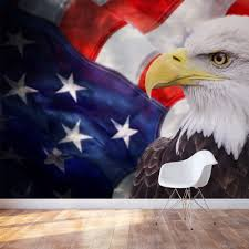 Bald Eagle And American Flag Wall Mural Buy America Wallpaper
