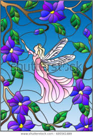 stained glass style winged fairy