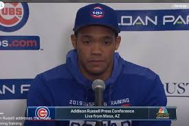 Addison Russell took questions from the media in Mesa - Bleed ...