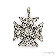 georgian diamond maltese cross pendant