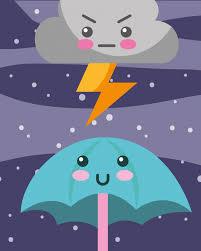 Kawaii nube de trueno y paraguas de dibujos animados | Vector ...