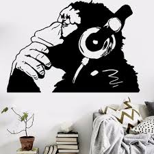 Banksy Wall Decal Vinyl Monkey With Earphones Wall Art Stickers Removable Animal Decorative Sticker Murals For Living Room Bedroom Vinyl Decals Wall Vinyl Decals Walls From Jy9146 7 4 Dhgate Com