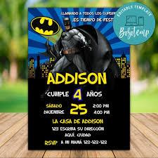 Descarga Inmediata De La Plantilla De Invitacion Comica De Batman