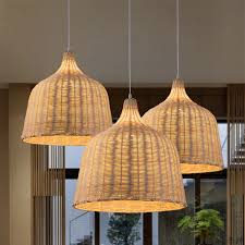 hand woven rattan hanging pendant lamps