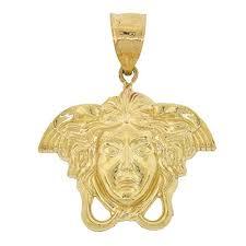 10k yellow gold medusa head pendant