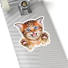 Happy Cute Cat Sticker Paws Kitten Kitty Watercolor Laptop Decal Viny Starcove Fashion