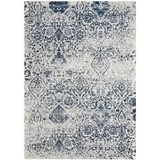 orourke damask ivory navy blue area rug