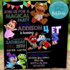 Invitacion De Cumpleanos De Muppet Babies Editable Descarga