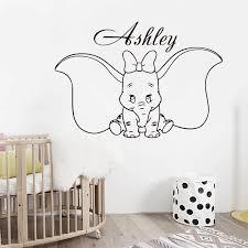 Customized Girl Name Dumbo Wall Decal Cute Elephant With Bow Vinyl Wall Sticker Baby Room Decor Custom Kids Nursery Gift Az854 Wall Stickers Aliexpress
