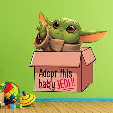 Wall Sticker Baby Yoda In A Box Muraldecal Com