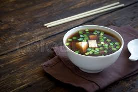 japanese miso soup in ceramic bowl on