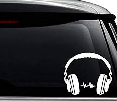 Amazon Com Dj Headphones Music Decal Sticker For Use On Laptop Helmet Car Truck Motorcycle Windows Bumper Wall And Decor Size 8 Inch 20 Cm Wide Color Matte White