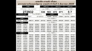 ตรวจหวย 1/8/59 ตรวจสลากกินแบ่งรัฐบาล วันที่ 1 สิงหาคม 2559 - YouTube