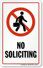 No Soliciting Glass Decal Signs Sku S 4917