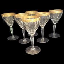 engraved gold rimmed wine glasses