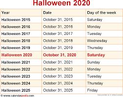 When is Halloween 2020?