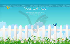 Fence With Grass Color Vector Clipart