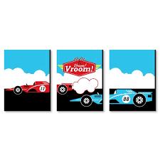 Let S Go Racing Racecar Nursery Wall Art Race Car Kids Room Decor And Game Room Home Decorations 7 5 X 10 Inches Set Of 3 Prints Walmart Com Walmart Com