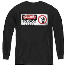 Jurassic Park Electric Fence Sign Youth Long Sleeve T Shirt 44 Black Small Walmart Com Walmart Com