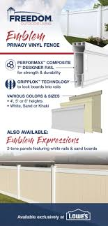Emblem 6x8 Vinyl Privacy Fence Kit Vinyl Fence Freedom Outdoor Living For Lowes Vinyl Fence Vinyl Privacy Fence Fence