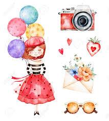 Preciosa Coleccion De Verano Con Chica Joven Globos Multicolores