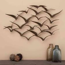 Litton Lane 47 In X 26 In Brown Iron Flying Birds Wall Decor Modern Metal Wall Art 80954 The Home Depot