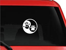 Amazon Com Tollyee Human Hand Dog Paw Vinyl Car Sticker Funny Dog Print Car Decal For Car Window Automotive