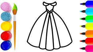Dạy bé tập vẽ chiếc váy cô dâu - Tập tô màu cho chiếc váy - Video ...