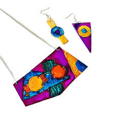 funky geometric jewelry set mismatched