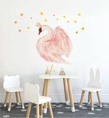 Swan Decal Swan Princess Wall Decal Watercolor Swan Wall Etsy