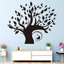 Amazon Com Vodoe Tree Decal Wall Family Tree Wall Decal Beautiful Forest Nature Plant Bird Stickers Suitable For Kids Room Teen Nursery Boys Girls Living Room Vinyl Art Home Decor Black 23 6x 20 4inches Home