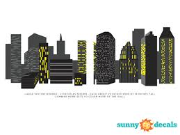 City Skyline Wall Border Fabric Wall Decal Sunny Decals