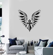 Wall Vinyl Decal Sticker Cross And Wings Tattoo Style Romantic Decor U Wallstickers4you