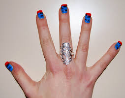 ring finger red color blue