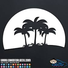 Tropical Palm Tree Sunset Car Decal Graphic Window Stickers