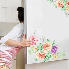 Peony Flowers Wall Stickers Art Home Decor Pvc Removable Vinyl Wall Decals For Kids Living Room Toilet Fridge Decorations Vinyl Wall Decals Wall Decalsflower Wall Sticker Aliexpress