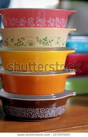 colourful milk glass dishes stock photo