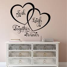 Bedroom Wall Decal Entwined Hearts Together Forever Quote