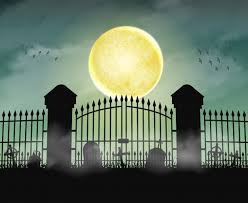 Premium Vector Silhouette Cemetery Graveyard Gate With Moon Night